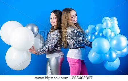 Girls Little Siblings Near Air Balloons. Birthday Party. Happiness And Cheerful Moments. Carefree Ch