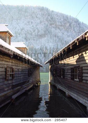 House. Winter In Koenigsee. Germany, Bayern.