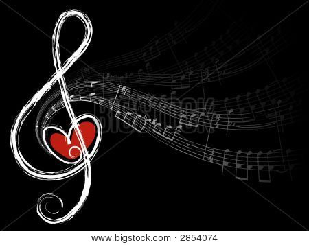 treble love and music notes (vector) - illustration poster