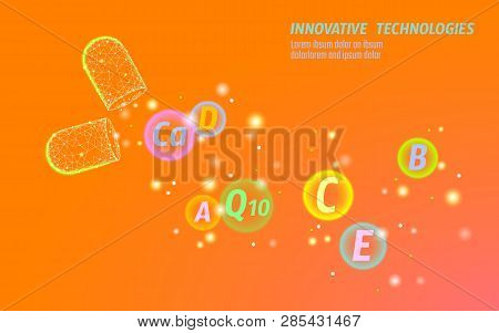 Bright Orange Opened Drug Capsule. Medicine Banner Template Blue Glowing Medicament Prebiotic Vitami