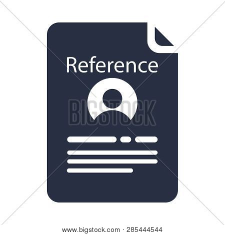 Reference Letter Glyph Icon. Recommendation Letter. Employment Reference. Job Application. Silhouett