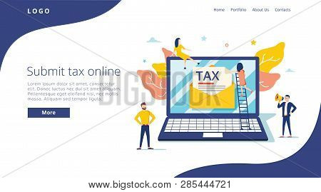 People Submit Tax By Online Vector Illustration Concept, Online Tax Payment And Report, Can Use For,
