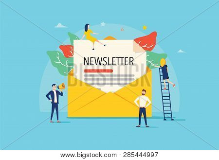 Email Subscribe Vector Illustration Concept, Email Marketing System, People Use Smartphone And Subsc