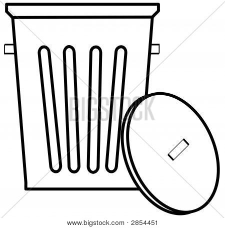 Garbage Can W Lid Outline