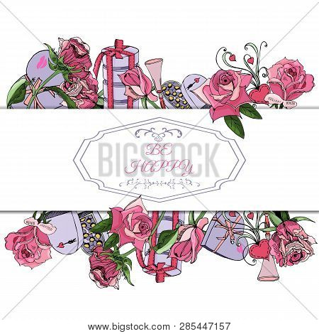 Rectangle Composition  Of  Hand Draw And Color  Sketch  Of Pink Rose Flowers And Leaves, Twirls, Swe