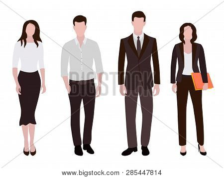 Business People Man And Woman Human Resources Flat Vector Illustrations. Company Staff Business Team