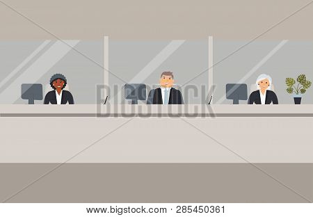 Bank Office Interior:bank Employees Sit Behind A Barrier With Glass And Ready To Serve Bank Customer