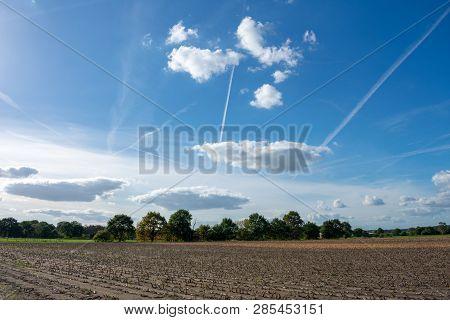 Beautiful Blue Cloud Sky With Contrails. Location: Germany, North Rhine - Westphalia, Borken