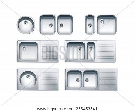 Stainless Steel Sinks Set. Vector Photo Realistic Illustration Isolated On White