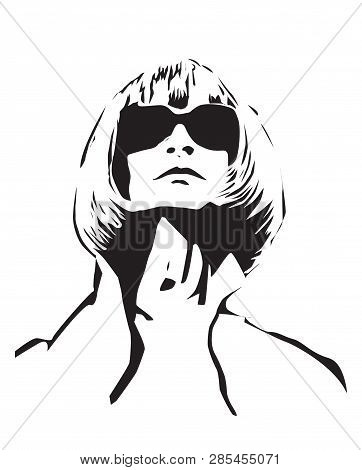 Feb 21: Us Vogue Chief Editor Anna Wintour Black Vector Portrait On Background