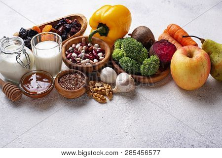 Products for healthy bowel. Natural food for gut poster