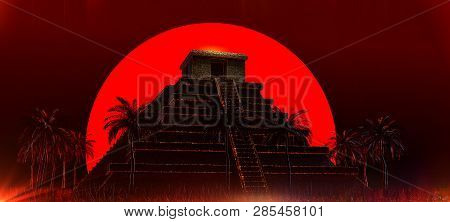 Mexican Mayan Aztec Pyramid In Front Of Big Red Blood Super Moon. Halloween Vampire Magic Ethnic Par