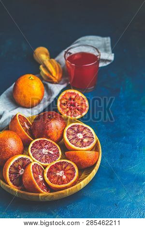 Shorts Of Alcohol Cocktail With Sliced Sicilian Blood Oranges And Fresh Red Orange Juice, Served On