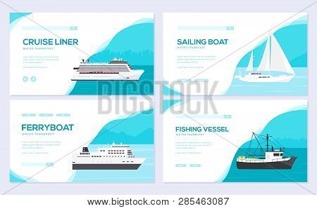 Set Of Yacht, Boat, Cargo Ship, Steamship, Ferry, Fishing Boat, Tug, Bulk Carrier, Vessel, Pleasure