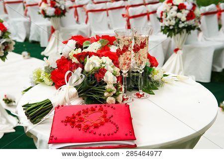 Wedding Ceremony Outdoors. Wedding Ceremony Decoration, Beautiful Wedding Decor, Flowers