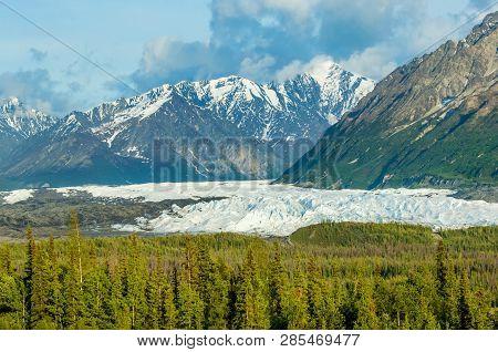 Panorama Of Matanuska Glacier And Mountains Along Alaskan Highway 1, Usa