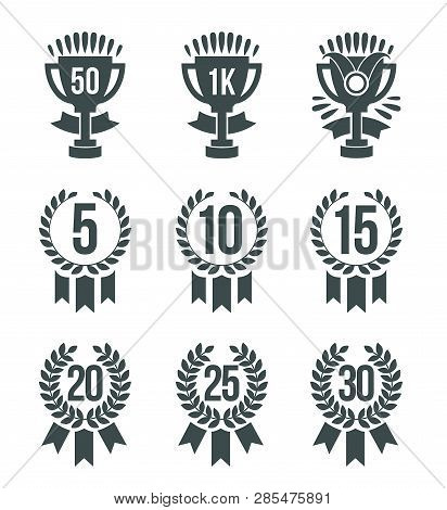 Achievement Winner Icons. Set Of 30 Outline Winner Icons Included Ranking Number Medal Trophy Medal