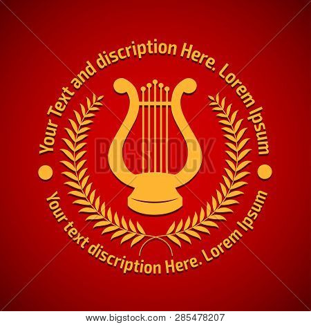 Vector Illustration Concept Of Philharmonic Logo With Lyre. Gold On Red Background