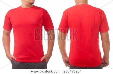 Red T-shirt Mock Up, Front And Back View, Isolated On White. Male Model Wear Plain Red Shirt Mockup.