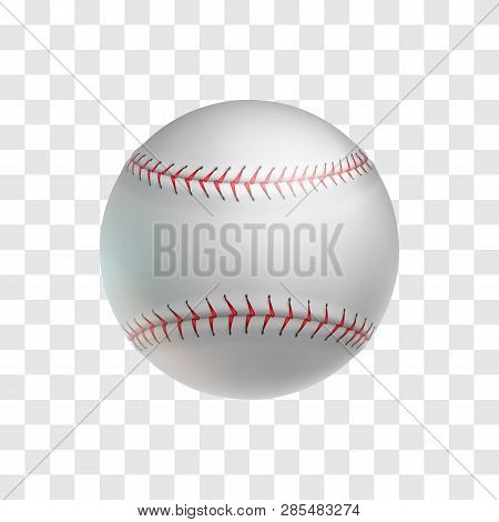 Realistic Leather Baseball Ball Isolated On Transparent Background. Sports Equipment For American Te