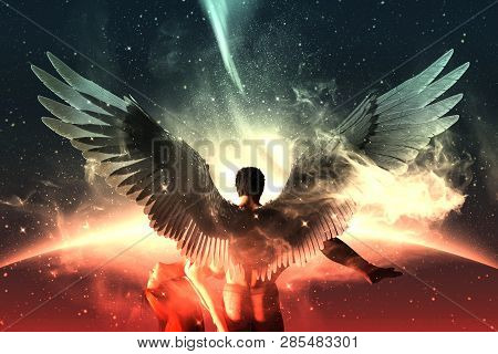 Till Death Do Us Part,3d Illustration Of An Angels In Heaven Land,mixed Media For Book Illustration
