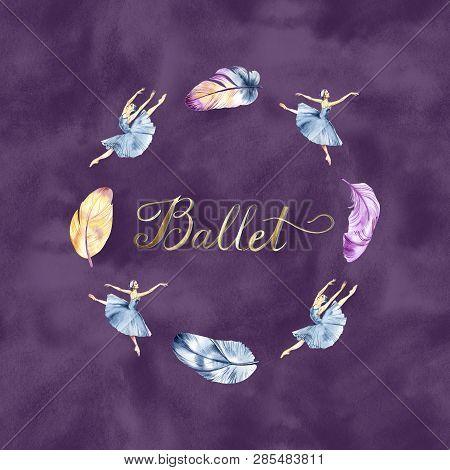 Watercolor Illustration Violet Ballet Icon. Design Poster Ballet School, Studio