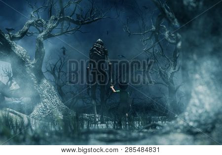 Nightmare With Bogeyman,boy Being Kidnapped By A Mythical Creature Call Bogeyman In Creepy Forest,3d