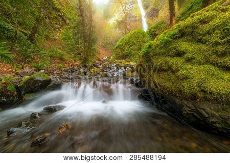 Cascading Small Waterfall Along Starvation Creek At State Park In Columbia River Gorge Oregon