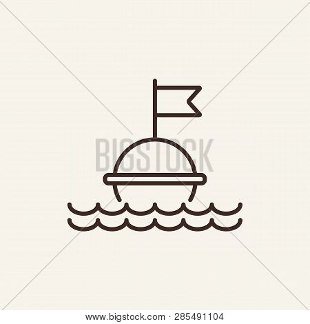 Buoy Line Icon. Float Buoy With Water Waves On White Background. Maritime Transport. Vector Illustra