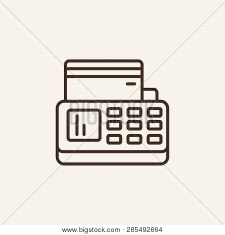 Online Payment Terminal Line Icon. Credit Reader On White Background. Online Payment Concept. Vector