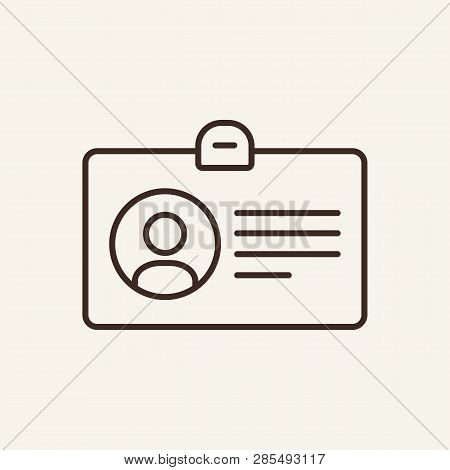 Accreditation Line Icon. Badge, Pic, Id. Mass Media Concept. Can Be Used For Topics Like Journalism,