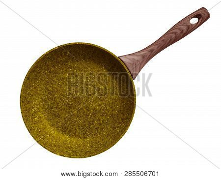 Yellow Stone Coated Frying Pan Isolated On White. Clipping Path Included.