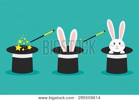 Magicians Black Hat, Magic Hat With Bunny Ears. Vector Flat Illustration In Cartoon Style.