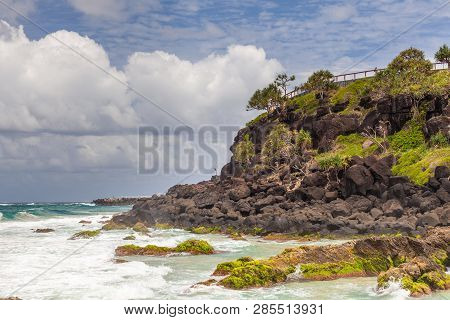 Point Danger Cliff And Viewing Area In Coolangatta, Qld, Australia