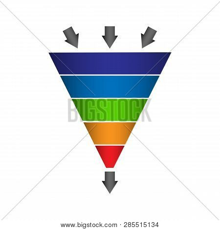 Infographics Lead Generation, Sales Funnel With Arrows For Application Presentations And Websites, F
