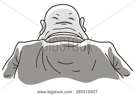 Second Face Of A Bureaucrat, Vector Illustration Of A Fat Bald Clerk With Folds On The Back Of His H