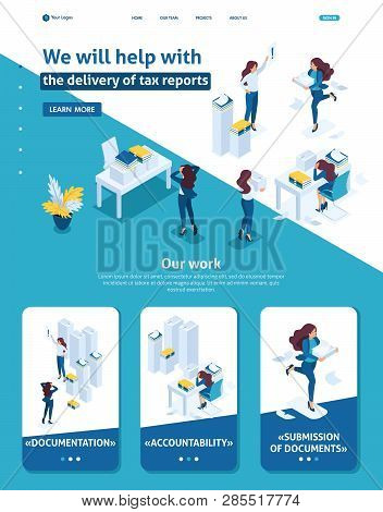Isometric Website Template Landing page The head of the audit company swears at subordinates, the delivery of the tax report. Adaptive 3D. poster