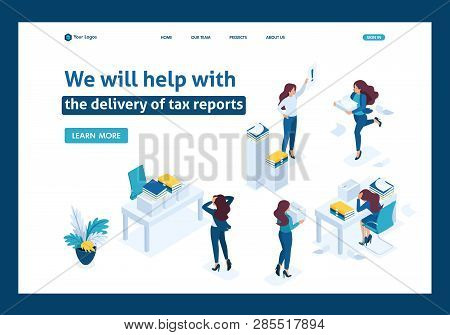 Isometric The head of the audit company swears at subordinates, the delivery of the tax report. Website Template Landing page. poster
