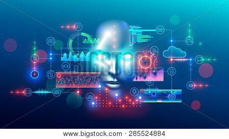 Artificial Intelligence Abstract Concept Banner. Digital Mind Analyzes Data Information. Ai Connecti