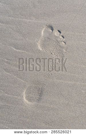 French Landscape - Bretagne. Human Footprint In Sand Of Summer Sandy Beach.