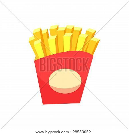 French Fries In Package Vector, Isolated Icon Of Fried Potatoes In Sticks. Cut Product Fattening Pre