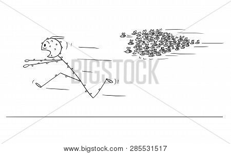 Cartoon Stick Figure Drawing Conceptual Illustration Of Man Running In Panic Away From Attacking Swa