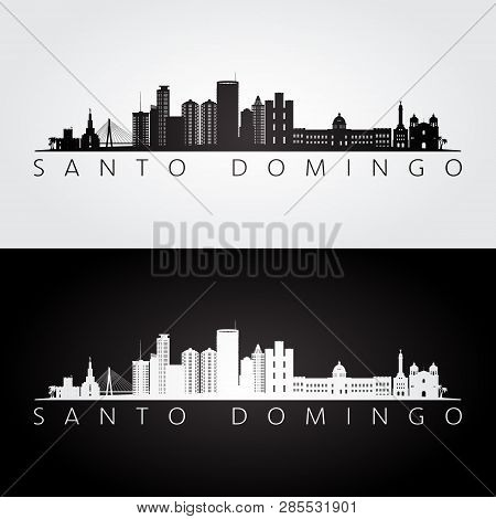 Santo Domingo Skyline And Landmarks Silhouette, Black And White Design, Vector Illustration.