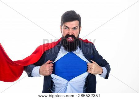 Bearded Businessman Screaming. Superman In Red Cape Showing Blue Shirt. Save The World. Superhero. R