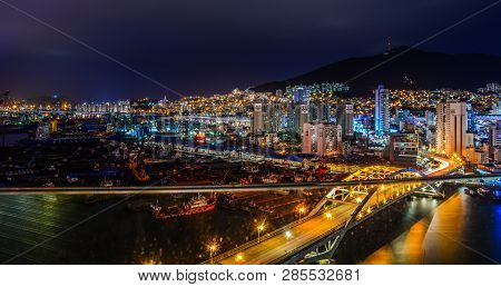 Night Scape Of Busan, South Korea