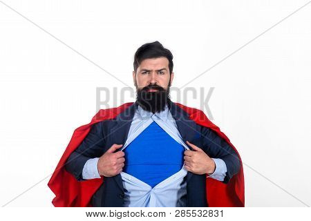 Superman In Red Cape Showing Blue Shirt. Save The World. Superhero. Red Superman Cape. Safety Hero.