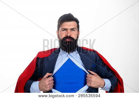 Superhero In Red Cape Showing Blue Shirt. Save The World. Bearded Businessman. Superhero. Red Superm