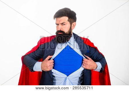 Super Businessmen In Red Cape Showing Blue Shirt. Save The World. Superhero. Red Superman Cape. Safe