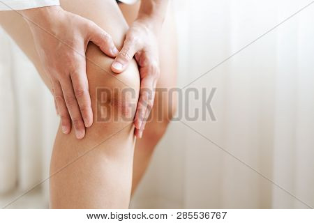 Bruised Knee Of Asia Woman, Selective Focus