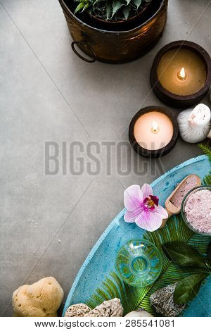 Spa And Wellness. Spa Products In Natural Setting With Orchid Flower .spa Treatment Flatlay Overhead